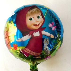 Фольгированный круглый воздушный шар с рисунком Маша и Медведь