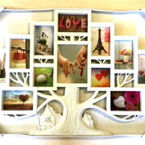 настенная рамка на 12 фото белого цвета в виде дерева