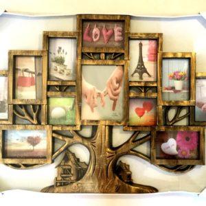 рамка для 12 фотографий разных размеров в виде дерева бронза, интерьер