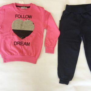 костюм для девочки тёплый розового цвета