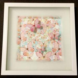 картина арт декор с объёмным изображением розовые бабочки