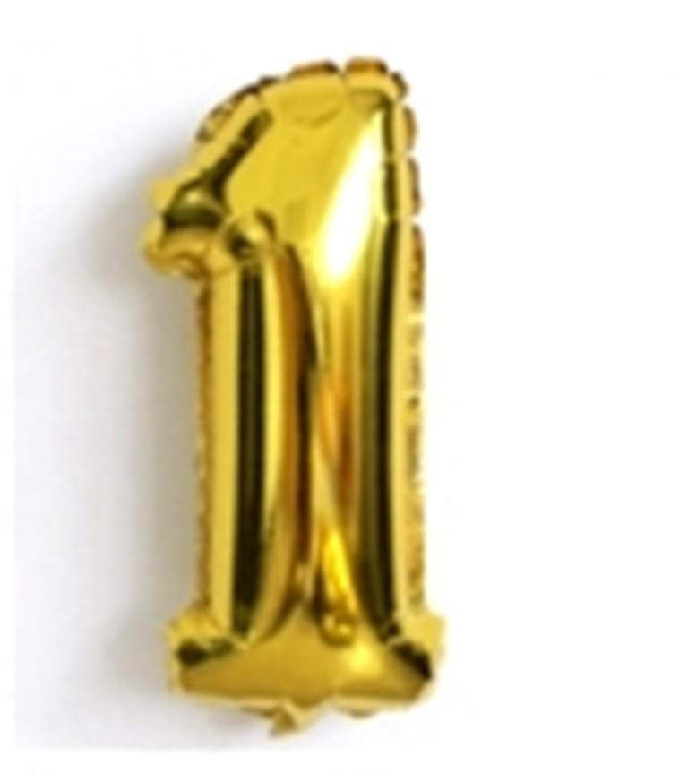 фольгированная цифра один золотая 80 см