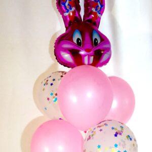 Набор из 6 шаров Заяц розовый