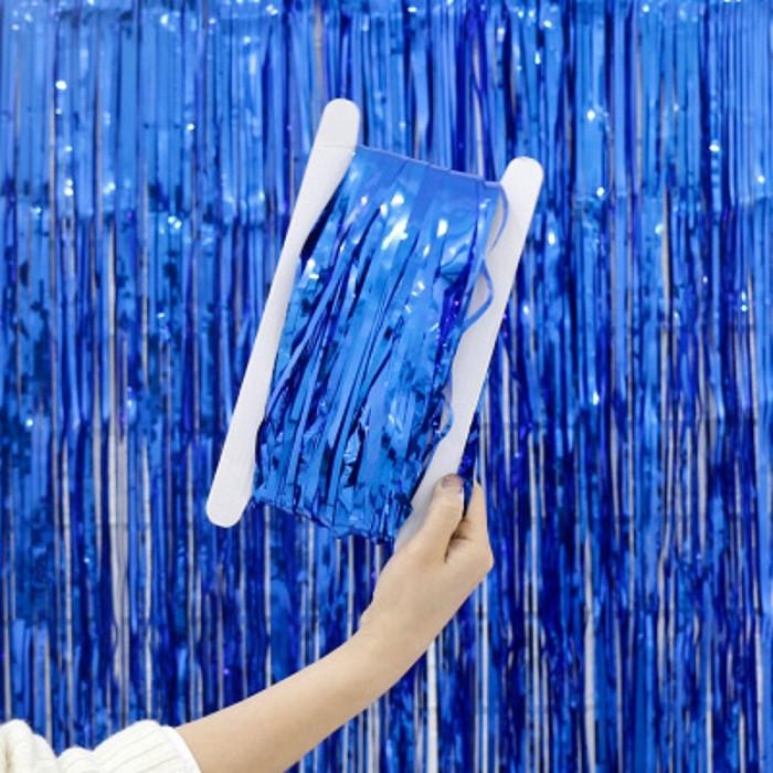 Фотозона / шторка 1х2 метра синяя сатиновая