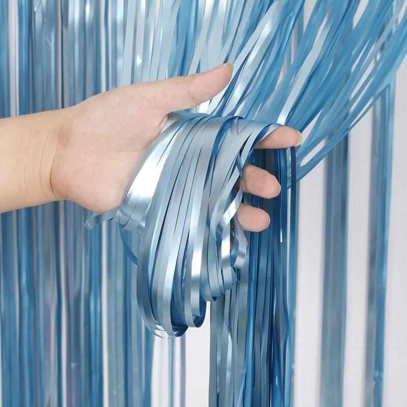 Фотозона / шторка 1х2 метра голубая сатиновая